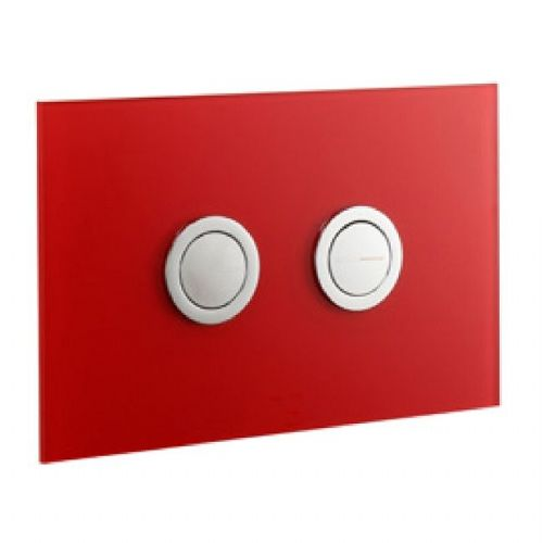 Abacus Lustrolite Press Panel Glass Effect Dual Flush Plate - Rouge